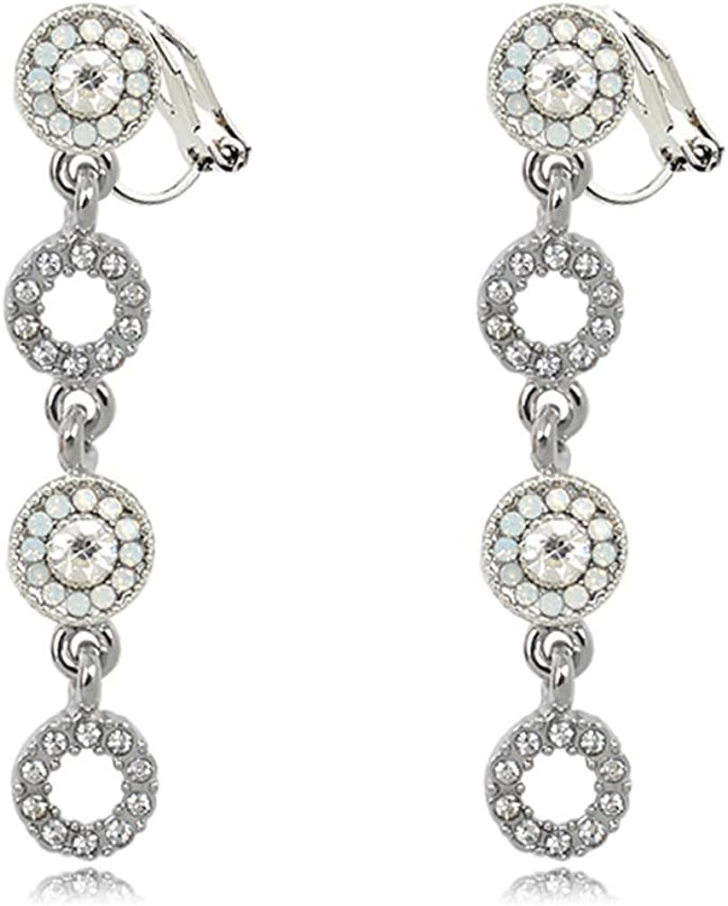 Rhinestone Dangle Rounds Clip on Earrings non Pierced Soft Pads CZ Circle Drop Crystal for Women Girls
