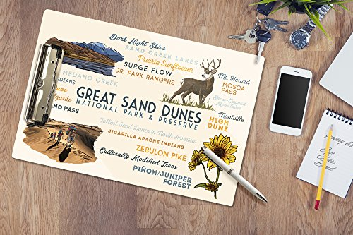 Great Sand Dunes National Park and Preserve, Colorado - Typography and Icons (Acrylic Clipboard)