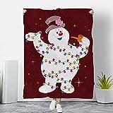 ClaDesigns Frosty Snowman Christmas Light Fleece Blanket