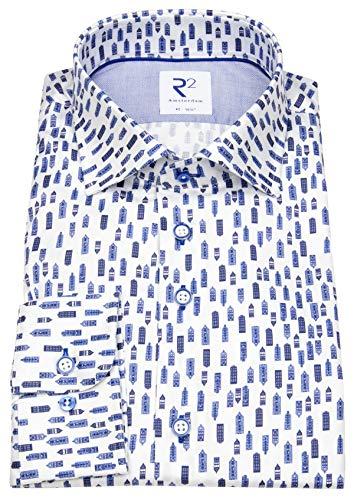 R2-Amsterdam Hemd Modern Fit Haifischkragen Print Hochhäuser blau 108.WSP.080/014
