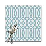 Guduss Modern White and Sky Blue Imperial Trellis Placemats for Dining Table,Washable Placemat Set of 6, 12x12 Inch