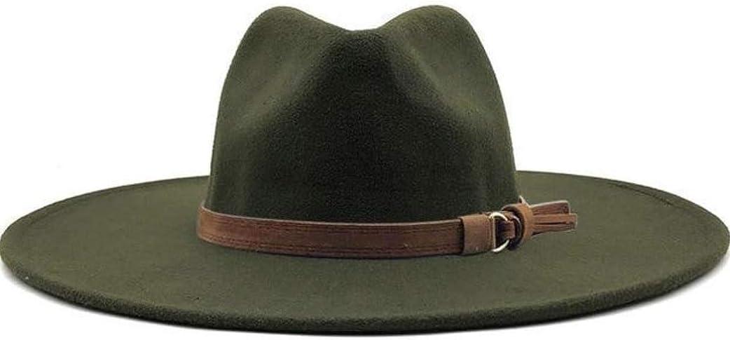 Olive Green Brown Belt Wide Brim Fedora Hat
