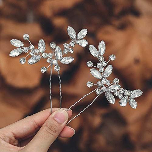 Mayelia Braut Hochzeit Haarnadeln Silber Kristall Haarschmuck Baidal Kopfschmuck für Frauen und Mädchen (2 Stück)