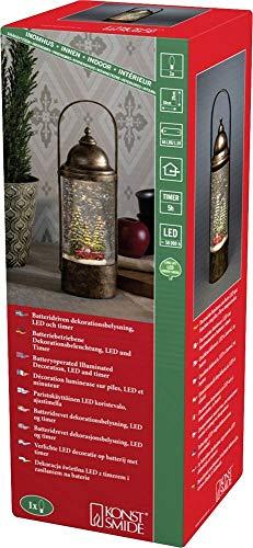 Konstsmide 4348-000 LED-Laterne Weihnachtsbäume und Auto LED Messing mit Wasser gefüllt, Timer, be