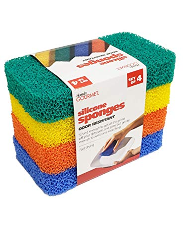 Handy Gourmet Silicone Sponges (Set of 4 Colors) Kitchen and Dish Scrubber, Fragrance Free, Mildew Free, Odor Free