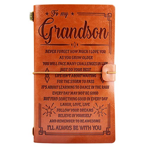 To My Grandson Leather Journal - I'LL ALWAYS BE WITH YOU- Gift for Grandson 136 Page Travel Diary Journal Sketch Book Graduation Back to School Gift for Boys