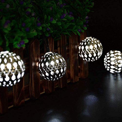 Solar String Lights Outdoor,YAWEYA 20LED Solar Garden Lights Waterproof 15.7ft 8 Mode Fairy Lights Silver Moroccan Orb String Light Decorative Lighting for Patio, Yard, Party, Wedding (White)