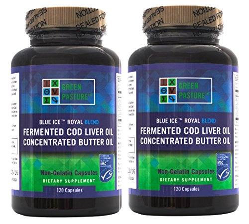"Blue Ice Royal Butter Oil / Fermented Cod Liver Oil Blend (240 Capsules) ""2 bottles of 120 capsules"""