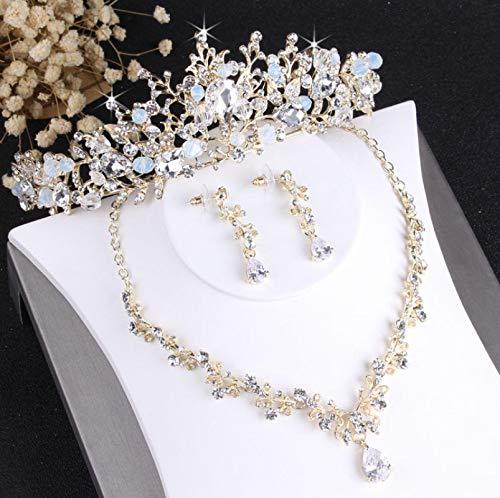 XUEKE Noble cristal nupcial conjuntos de joyería vintage oro moda boda joyería tiara collar pendientes para novia adornos de pelo