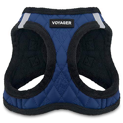"""Voyager Step-In Plush Dog Harness – Soft Plush, Step In Vest Harness for Small and Medium Dogs – By Best Pet Supplies - Royal Blue Faux Leather, X-Small (Chest: 13"""" - 14.5"""")"""