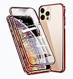 WMCOVER Funda iPhone 12/12 Pro Magnética Funda,iPhone 12 Pro 6.1' Carcasa Protectora de Cuerpo Completo 360° Cristal Templado Cover con Protector de Pantalla,Antigolpes Rugged Metal Bumper Case,Rojo