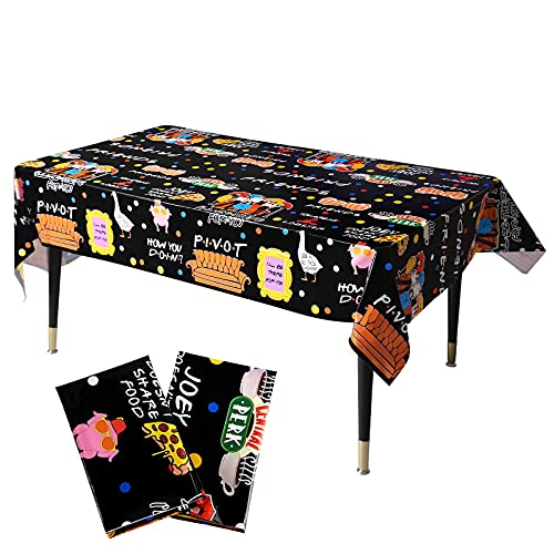 2 Pack Friends Party Tablecloths, Disposable Friends Plastic Table Cover, Friends TV Show Party Supplies, Friends Fan Birthday Party Decorations, 86.6 x 51.2in