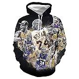 GEZIBABA 3D Hombres NBA Lakers Kobe Bryant Impreso Pullover Cómoda Camiseta Deportiva T-Shirt De Baloncesto -A_6XL