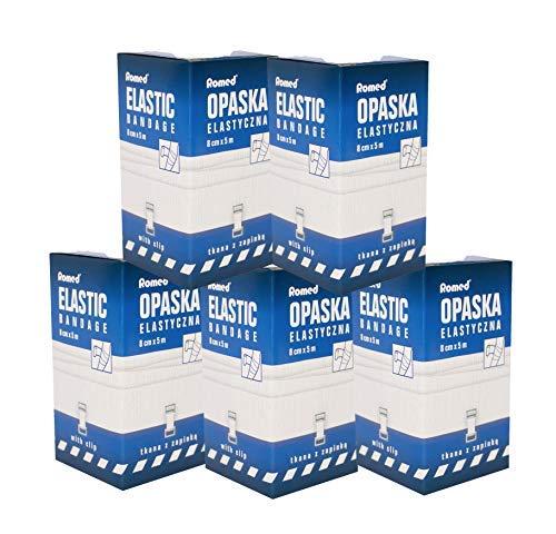 5 Stück Elastische Fixierbinden Opaska mit Halteklammer Mittelzugbinden Romed verschiedene Größen (8 cm x 5 m)