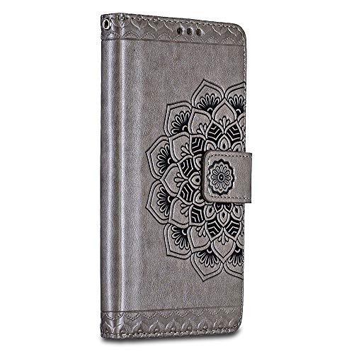 Bravoday Handyhülle für Sony Xperia X Performance Hülle, Premium Leder Flip Schutzhülle [Kartenfach] [Magnetverschluss] für Sony Xperia X Performance Tasche, Grau