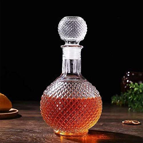 Botella de Whisky con Vaso Decantador De Vino De Cristal con Tapón, Soporte Hanade Vidrio Dispensador De Vino Whisky Decanter Alcohol Decanter para Alcohol Alcohol Botella de Whisky Regalo