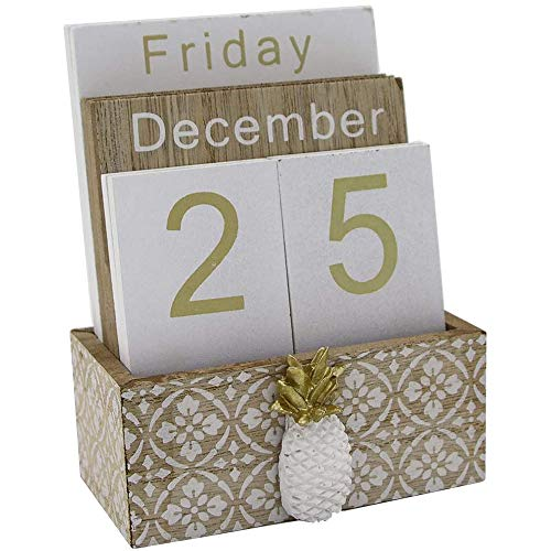 Creely Blocs de bureau à rabat en bois - Planches perpétuelles - Calendrier de table - Décoration de maison ou de bureau - 11,5 x 6,5 x 14,5 cm - C