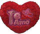 ML cojin Corazon de Peluche con Frase de Amor TE Quiero con Purpurina, Color Rojo de 40x35cm Color Rojo Purpurina