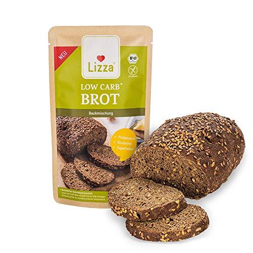 Lizza Low Carb Brot Backmischung 1kg Packung | 89% weniger Kohlenhydrate | Bio, Glutenfrei, Vegan | Keto-, Atkins- & Diabetiker-freundlich | Protein- & Ballaststoffreich | Frühstück für 2 Wochen