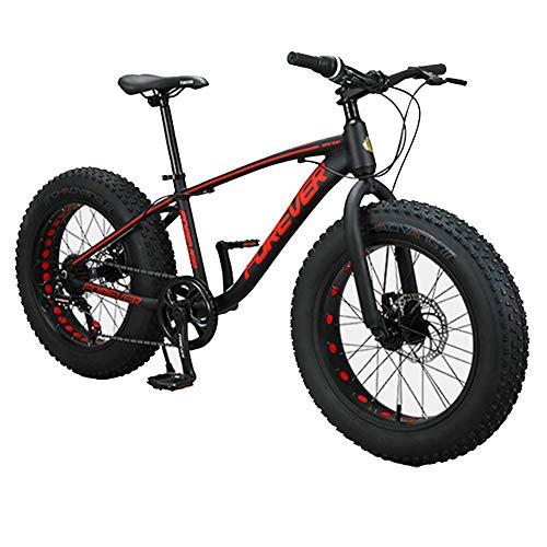AUTOKS Vélos de Montagne pour Enfants, vélos antidérapants à Gros pneus à 9 Vitesses de 20 Pouces, vélo à Frein à Disque à Double Cadre en Aluminium, VTT Semi-Rigide, Rouge