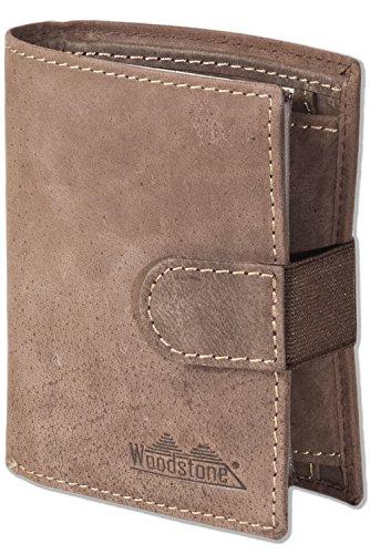 Woodstone® Super-Kompakte Geldbörse mit XXL-Kreditkartentaschen für 18 Karten aus naturbelassenem Büffelleder in Dunkelbraun/Taupe, Dunkelbraun