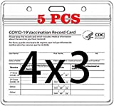 CDC Vaccine Card Protector 4.5X3.9in Waterproof Resealable Zip 5 Packs a Covid 19 Immunization Record Vaccine Card Holder, Horizontal Badge I'd Name Tags Clear Plastic Sleeve Slots for Events Travel