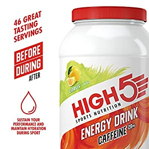 HIGH5 Energy Hydration Drink with Caffeine Refreshing Mix of Carbohydrates and Electrolytes Vegan Friendly (Citrus) (2.2kg Jar)