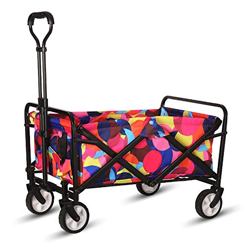"""WHITSUNDAY Collapsible Folding Garden Outdoor Park Utility Wagon Picnic Camping Cart 5"""" Solid Rubber Wheels (Compact Size, Bubbles)"""