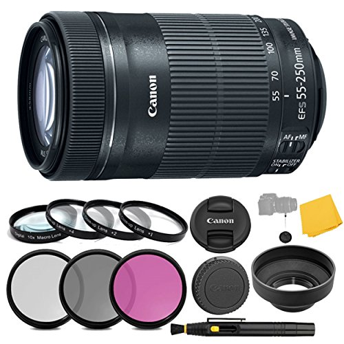 Canon EF-S 55-250mm f/4-5.6 is STM Lens + 3 Piece Filter Set + 4 Piece Close Up Macro Filters + Lens Cleaning Pen + Pro Accessory Bundle - 55-250mm STM: International Version (1 Year AOM Warranty)