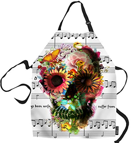 SSOIU Music Cooking Apron, Music Note and Cool Floral Sugar Skull Kitchen Apron for Baking/BBQ Men Women Unisex Waterproof 31X27 Inches