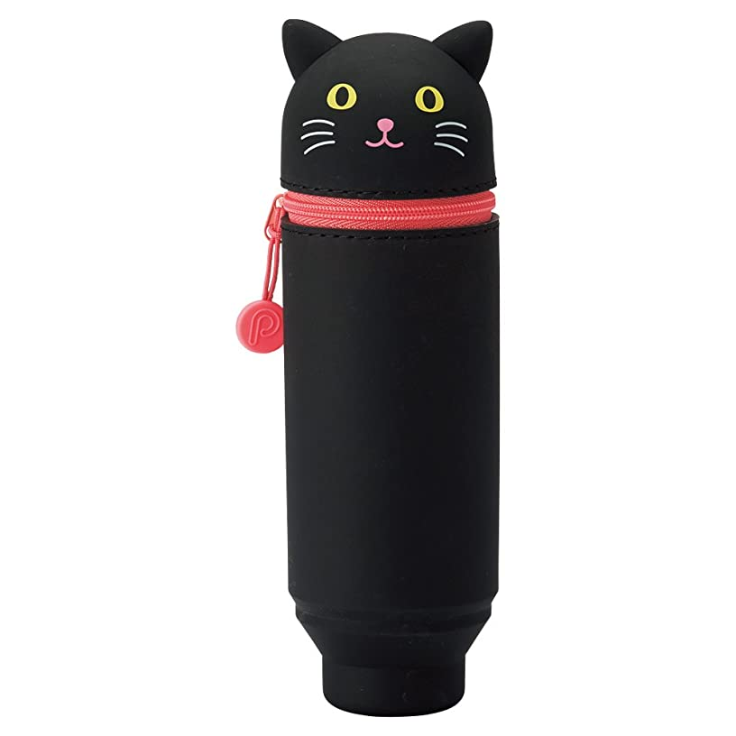 LIHIT LAB. PuniLabo Stand Up Pen Case (Pen Holder), Black Cat, 2.4