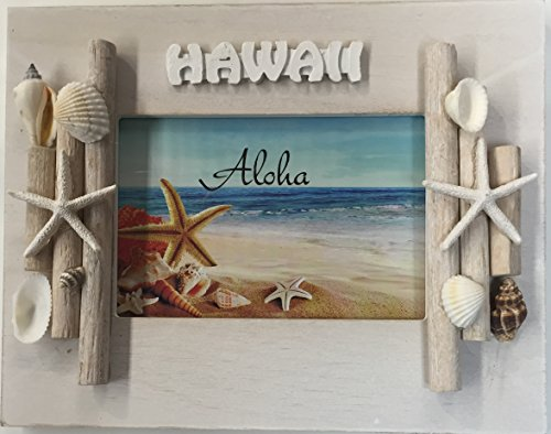 Wooden Sea Shell Picture Frame Hawaiian Design