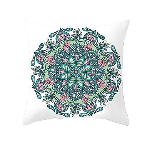 Almohada Decorativa con Relleno Mandala de flores Pillowcase+core,50x50cm Grande Rectangular Suave Cuadrado Cojines Throw Pillow Case para Sofá Coche Decoración para Hogar Fundas para Cojín B1539