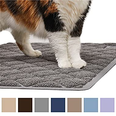 Gorilla Grip Original Premium Durable Cat Litter Mat (35x23), XL Jumbo, No Phthalate, Water Resistant, Traps Litter from Box and Cats, Scatter Control, Soft on Kitty Paws, Easy Clean Mats (Gray)