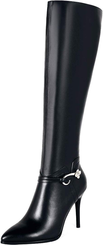 Jushee Womens Juassum 9.5 cm high-Heel Knee-High Zipper Leather Boots