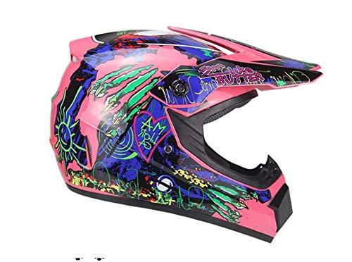 DBSCD Motocross Crash Helmet,Helmet,Men and Women Locomotive Racing Mountain Bike Karting Scooter Full Face Helmet,Dot Certified Helmet,for Kids Adult