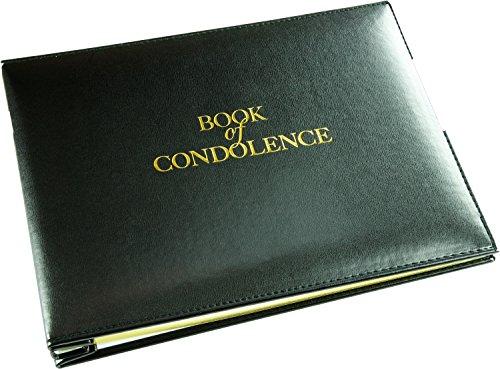 Registre de condoléances à feuilles mobiles - Noir - Livré dans un coffret (Taille L - Largeur : 26,7 cm - Hauteur : 19,3 cm - Profondeur : 3 cm)
