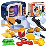NONZERS Kids Kitchen Microwave Oven Play Set Pretend Play Electronic Oven with Play