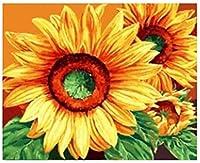 大人のためのキャンバス上のDIY油絵の具の数のキットの家の壁の装飾16x20インチのための子供の芸術の芸術のフレーム児童学校#06313