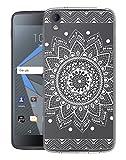 Sunrive Für BlackBerry DTEK50 Hülle Silikon, Transparent Handyhülle Schutzhülle Etui Hülle Backcover für BlackBerry DTEK50(TPU Blume Weiße)+Gratis Universal Eingabestift
