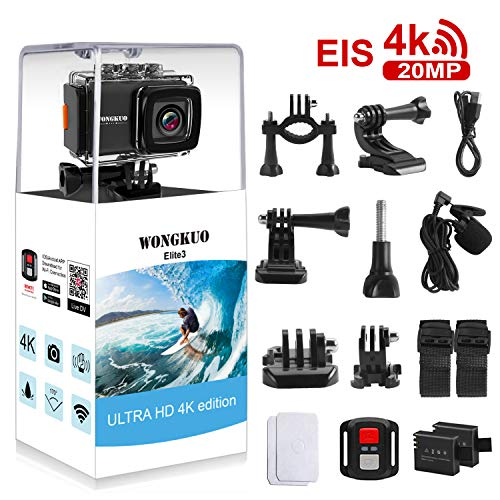 Visit the UPGRADED WONGKUO Action Camera 4K 20MP Ultra HD EIS Anti-shake Sport Camera 98ft Waterproof 170°Wide-Angle WiFi Camcorder with External Microphone & Remote Control & Mounting Accessories Kit(Standard) on Amazon.