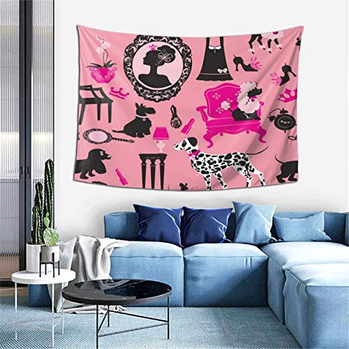 KZZ Girl and Dogs on Pink Pattern Tapestry 60x40 inch Boutique Funny Tapestry Wall Hanging Party College Dormitory Apartment Bedroom Decoration Microfiber