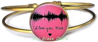 AllGlassCharm Your Own Voice's Waveform Image-Waveform Bracelet Bangle-Voice Image-Sound Wave Jewelry,AS0133