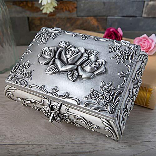 Caja de Joyería, Joyería Vintage Para Mujer, Joyero de Estilo Rectángulo Creativo de Estilo Europeo de Metal, Caja de Almacenamiento de Joyería con Relieve de Rosas Exquisitas de Alta Gama,style3