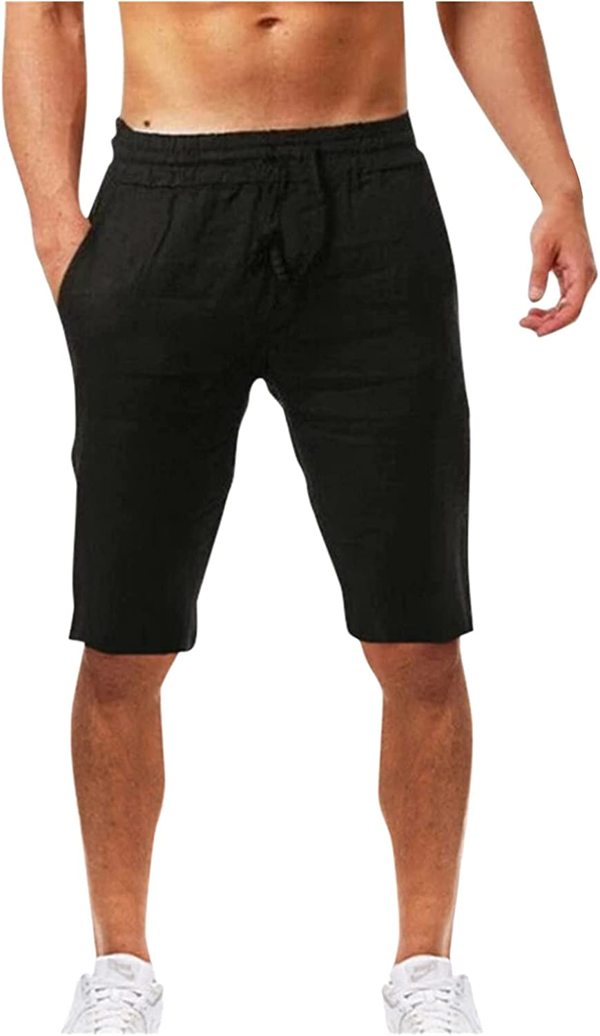 2021 Men's Summer Casual and Fashionable Solid Cotton and Linen Shorts