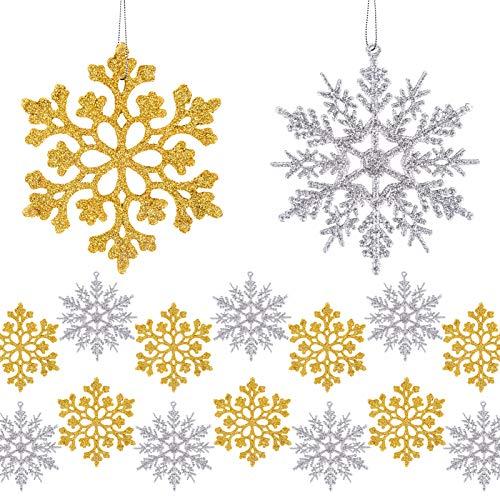 MELLIEX 24 Stück Schneeflocken Weihnachten Deko, Weihnachtsbaumschmuck Glitter Schneeflocken Deko Hängende Ornamente Christbaumschmuck Schneeflocke Anhänger