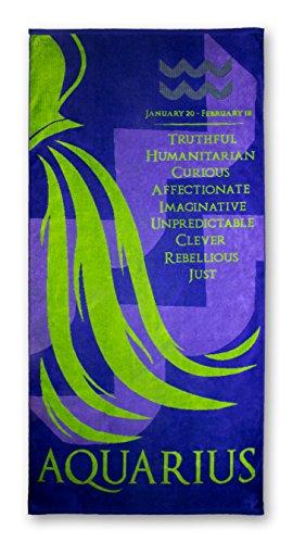Blanket Statements Zodiac Beach Towels, Oversized Plush, Astrology Horoscope (Aquarius)