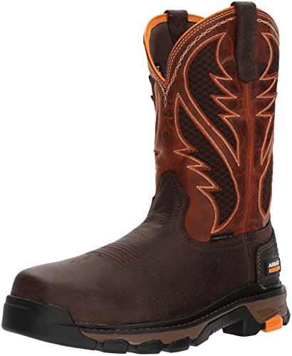 Ariat Work Men's Intrepid Venttek Composite Toe Construction Boot, Bruin Brown/Sassy Orange, 10.5 D US