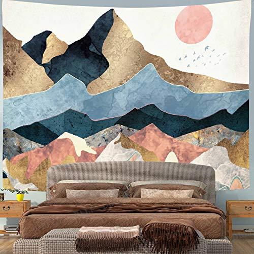 Coucher Soleil Forêt Tapisserie Esthétique Montagne Tapisserie Décoration Orientale Tapis Mural Couverture Murale Vsco Filles Chambre Moderne Maison Salon Décoration Murale(Rouge)