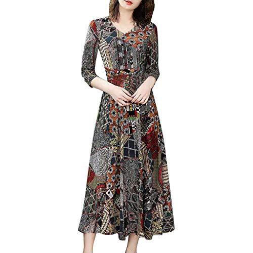 Celucke Women's V-Neck Three Quarter Sleeve Long Dress Ladies Floral Print A-line Dress Black
